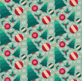 Fir tree and decorative toys seamless pattern. Retro style for Christmas and New Year design Royalty Free Stock Photos
