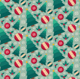 Fir tree and decorative toys seamless pattern. Retro style for Christmas and New Year design Royalty Free Stock Photography
