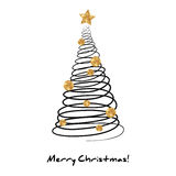 Fir Tree in Doodle Style with Golden Decorations Stock Images