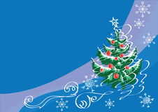 Fir-tree  with the drawn toys and snow-storm. Fir-tree on a dark blue background with the drawn fir-tree balls, snow-storm and snowflakes Royalty Free Stock Photo