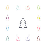 Fir-tree flat icons set. Open colorful buttons Stock Photo