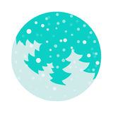 Fir tree flat with snowflakes. Vector illustration. Blue fir on turquoise background. Vector fir tree flat with snowflakes. Blue fir on turquoise background Stock Images