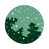 Fir tree flat with snowflakes. Vector illustration. Dark green fir on light green background. Vector fir tree flat with snowflakes. Dark green fir on light green Royalty Free Stock Images