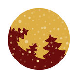 Fir tree flat with snowflakes. Vector illustration. Dark red fir on gold background. Vector fir tree flat with snowflakes. Dark red fir on gold background Royalty Free Stock Images