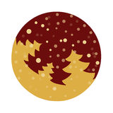 Fir tree flat with snowflakes. Vector illustration. Gold fir on dark red background Royalty Free Stock Images
