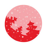 Fir tree flat with snowflakes. Vector illustration. Hot red fir on pink background. Vector fir tree flat with snowflakes. Hot red fir on pink background Stock Images