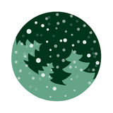 Fir tree flat with snowflakes. Vector illustration. Light green fir on dark green background. Vector fir tree flat with snowflakes. Light green fir on dark green Stock Photo