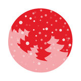 Fir tree flat with snowflakes. Vector illustration. Pink fir on hot red background. Vector fir tree flat with snowflakes. Pink fir on hot red background Stock Image