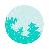 Fir tree flat with snowflakes. Vector illustration. Turquoise fir on light background. Vector fir tree flat with snowflakes. Turquoise fir on light background Royalty Free Stock Photo