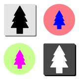 Fir tree. flat vector icon. Fir tree. simple flat vector icon illustration on four different color backgrounds royalty free illustration