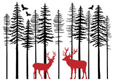 Fir tree forest with reindeer, vector Stock Images