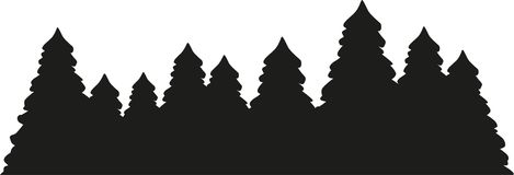 Fir tree forest silhouette. Vector Stock Photos