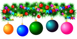 Fir-tree garland with balls and flags. Isolated on white background Royalty Free Stock Images