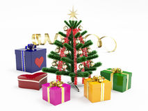 Fir-Tree & Gifts. Christmas tree and colorized giftsl on white background Royalty Free Stock Image