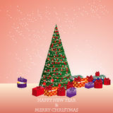 Fir tree with gifts. The  illustration of fir-tree with gifts Stock Photo