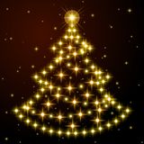 Fir-tree from gold stars on black. Fir-tree from the realistic beautiful gold stars on black background. Card with New Years mood. Vector illustration. It is Royalty Free Stock Photography