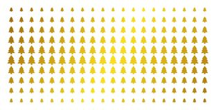 Fir-Tree Golden Halftone Effect. Fir-tree icon gold colored halftone pattern. Vector fir-tree pictograms are arranged into halftone grid with inclined gold Stock Photos