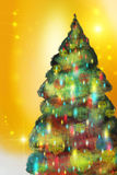 Fir-tree on a Goldish background. Brightly and festively! Picture, computer graphics Royalty Free Stock Photography