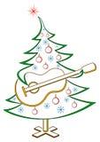 Fir-tree with guitar, pictogram. Christmas fir-tree with guitar, symbolical holiday pictogram, isolated Stock Images