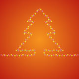Fir-tree hot background. Bright holiday background with many lights in fir-tree shape Royalty Free Stock Image