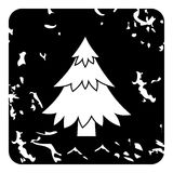 Fir tree icon, grunge style Stock Images