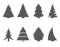 Fir-tree icon set. Set of isolated icons on a theme fir-trees Royalty Free Stock Photos