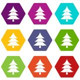 Fir tree icon set color hexahedron. Fir tree icon set many color hexahedron isolated on white vector illustration Stock Image