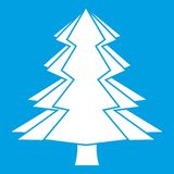 Fir tree icon white. Isolated on blue background vector illustration Stock Photography