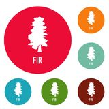 Fir tree icons circle set vector. Isolated on white background Royalty Free Stock Photography