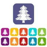 Fir tree icons set flat. Fir tree icons set vector illustration in flat style In colors red, blue, green and other Royalty Free Stock Photos