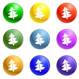 Fir tree icons set vector stock illustration