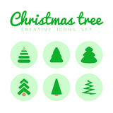 Fir-tree icons set. Vector realistic fir-tree icons set on a white background Royalty Free Stock Images