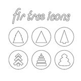 Fir-tree icons. Vector contour fir-tree icons set on a white background Royalty Free Stock Images
