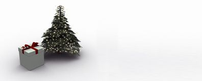 Fir tree with illumination. Illuminated fir tree and gift box with ribbon Stock Images