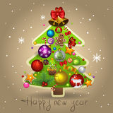 Fir-tree. Illustration of New Year fir-tree Stock Photo