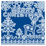 Fir tree for laser cutting. Christmas cart template with deer and fir tree for laser cutting Stock Image