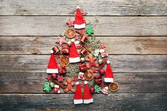 Fir-tree made from christmas decorations Stock Images