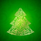 Fir tree made of gzhel. Vector illustration Royalty Free Stock Photos