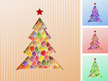 Fir Tree Mosaic Background Christmas. Christmas tree cut out of the paper; mosaic of colored jewels; Eps10 Royalty Free Stock Images
