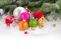 Fir tree and multicolored  christmas balls Stock Images