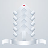 Fir-Tree Object. White paper Christmas tree with a red star and ribbon Stock Photos