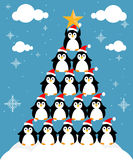 Fir-tree from penguins. Merry Christmas fir-tree from penguins Royalty Free Stock Photo
