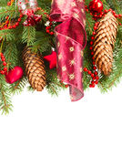 Fir tree with red christmas decorations and cones Royalty Free Stock Photography