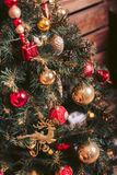 Fir-tree with red and gold Christmas-tree toys. Fir-tree with red and gold toys royalty free stock images