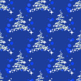Fir tree seamless pattern. Christmas tree silhouettes on a blue background. Seamless pattern Stock Photography
