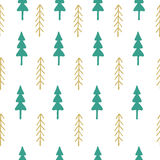 Fir tree seamless pattern colorful. Vector illustration. Christmas trees. Happy New Year background. Winter holidays Stock Image