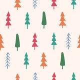 Fir tree seamless pattern colorful. Vector illustration. Christmas trees. Happy New Year background. Winter holidays. Child drawing style trees Royalty Free Stock Photography
