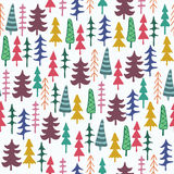 Fir tree seamless pattern colorful. Vector illustration. Christmas trees. Happy New Year background. Winter holidays. Child drawing style trees Royalty Free Stock Photos