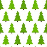 Fir-Tree Seamless Pattern. Vector illustration of fir-tree,  on white background. Christmas tree seamless pattern in flat style Royalty Free Stock Photography
