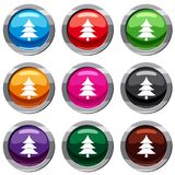 Fir tree set 9 collection. Fir tree set icon isolated on white. 9 icon collection vector illustration Royalty Free Stock Photos
